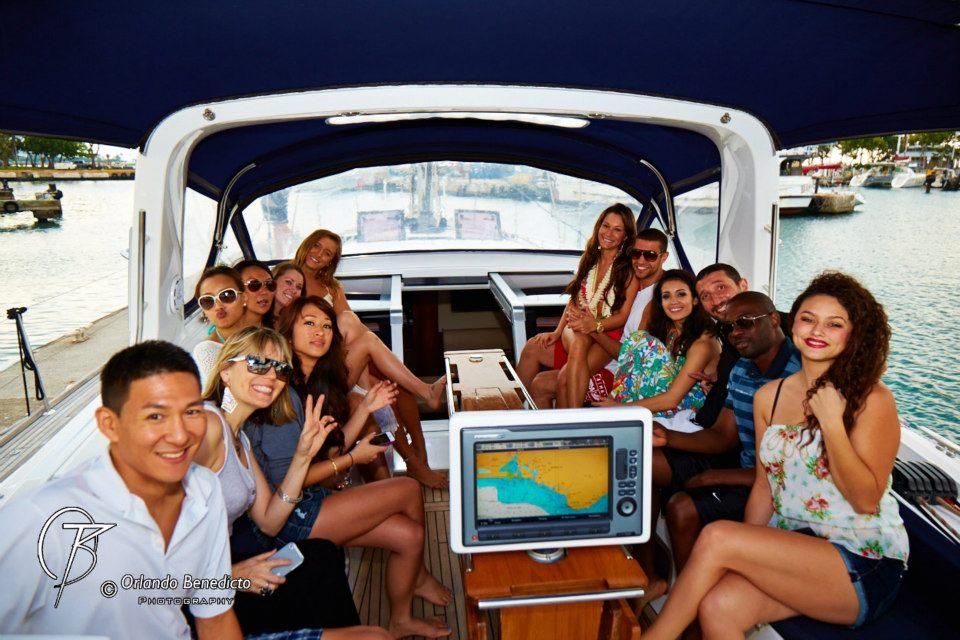 On yacht in Honolulu, Hawaii.