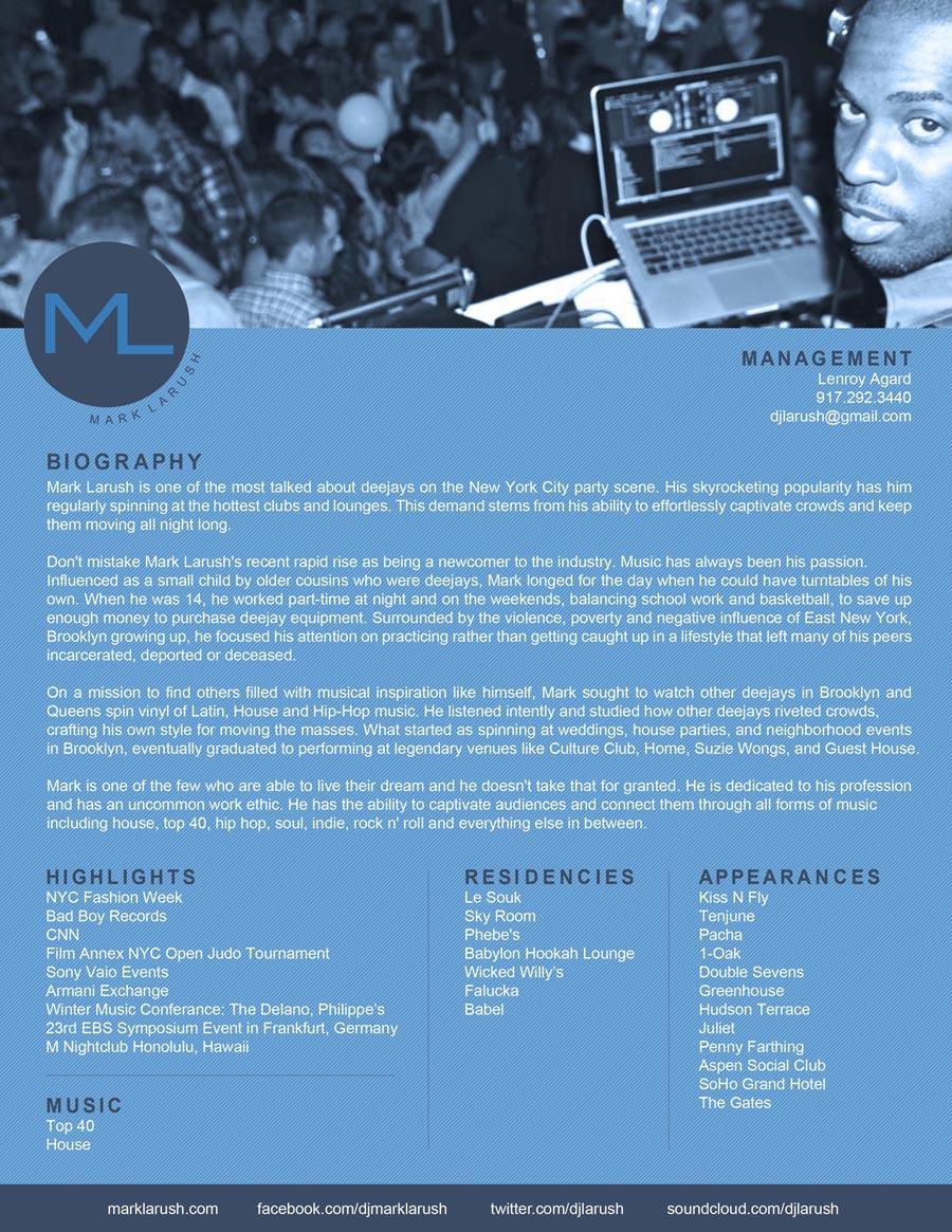 Mark Larush Press Kit